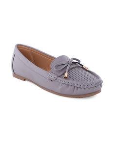 Chike Grey Perforated Loafers