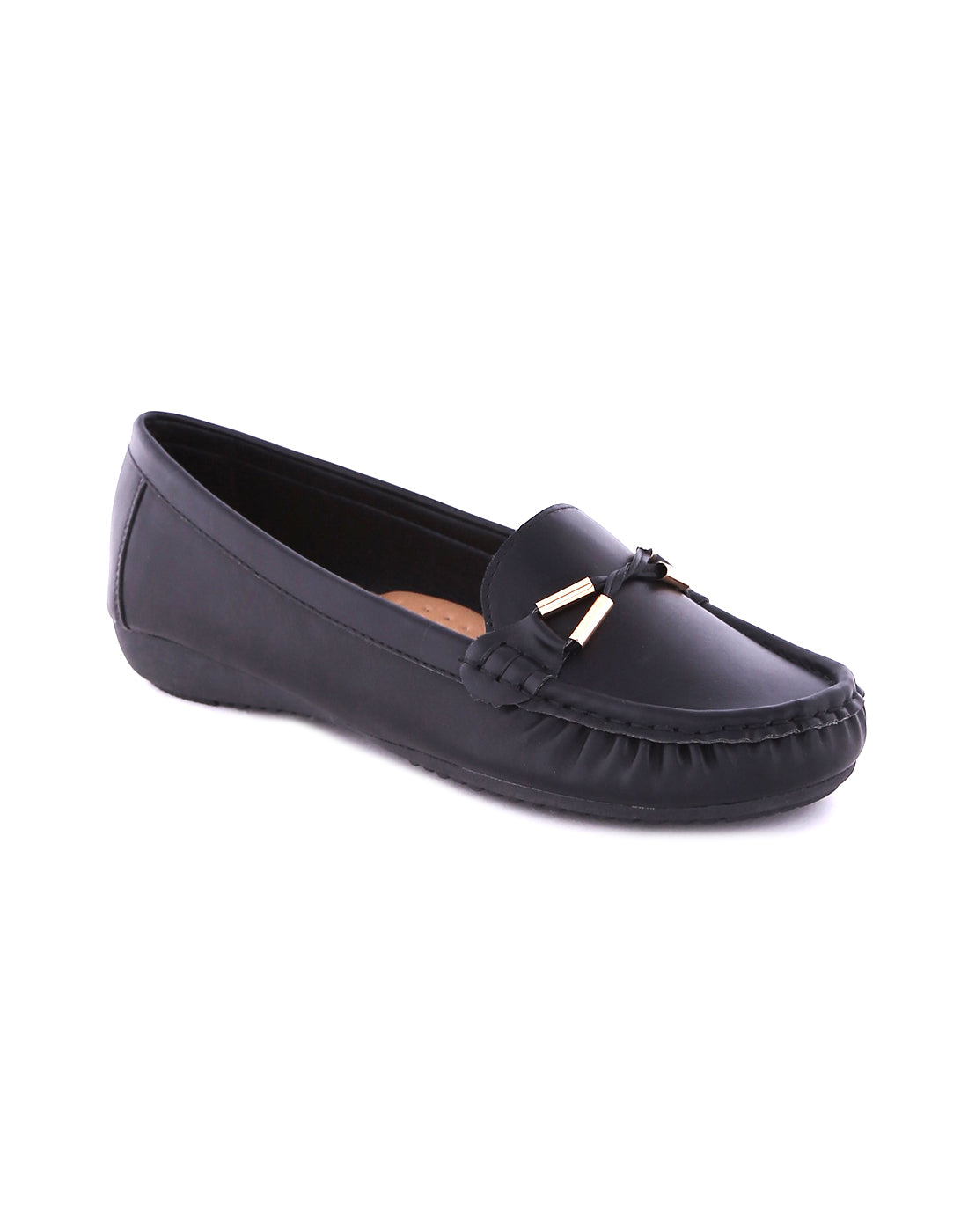 Lethaa Black Twisted Loafers