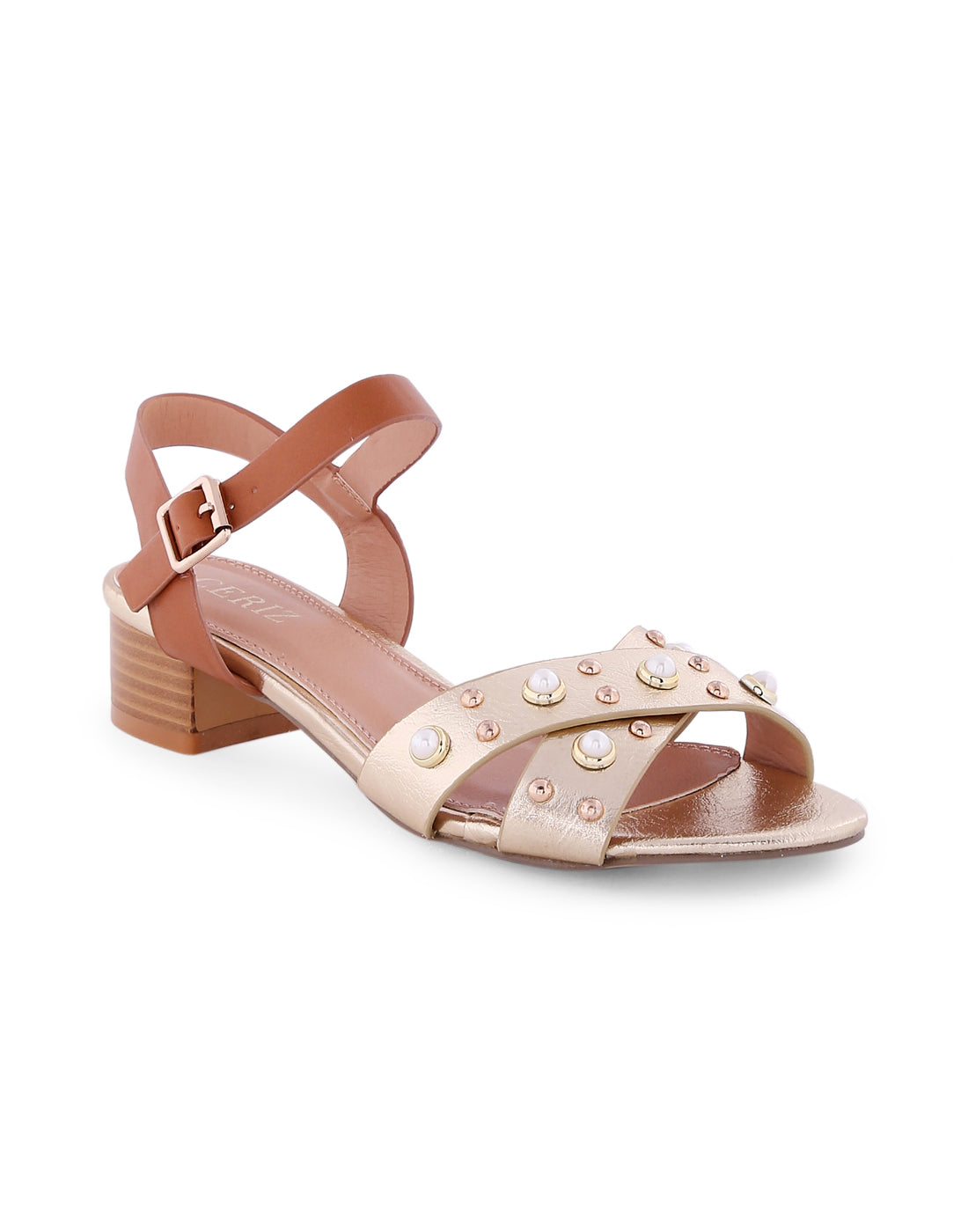 Makena Gold Metallic Studded Sandals