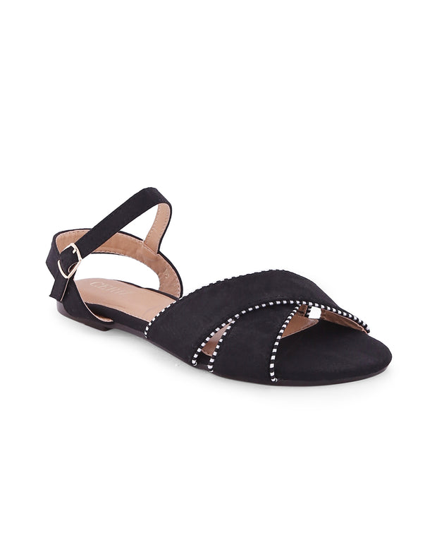 Alethea Black Stripped Piping Sandals