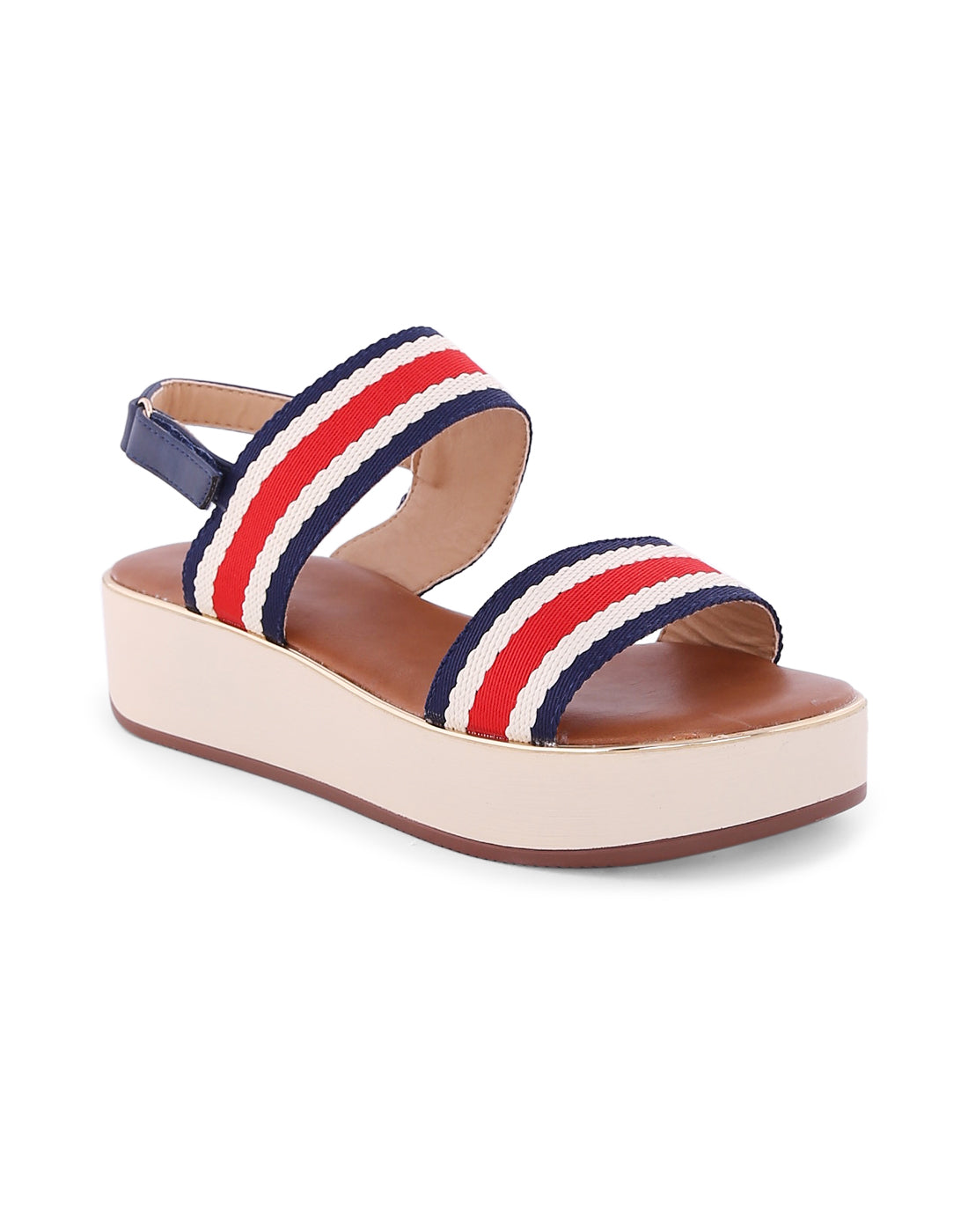 Ilariaa Navy Stripped Cloth Sandals