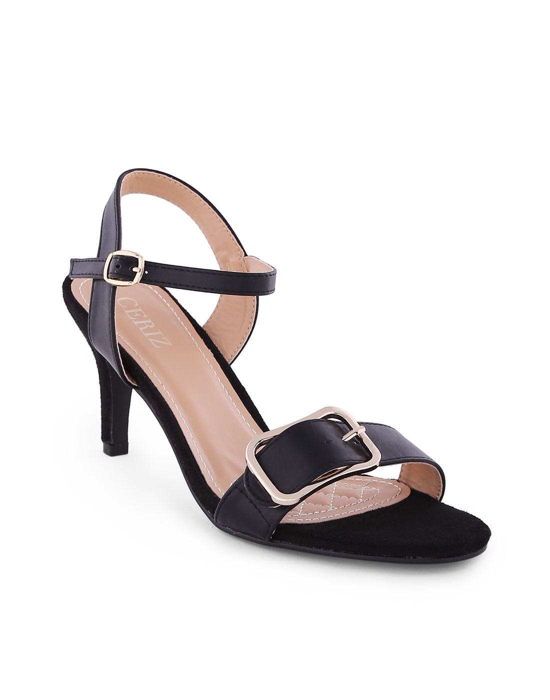 Giannaa Black Gold Buckled Sandals