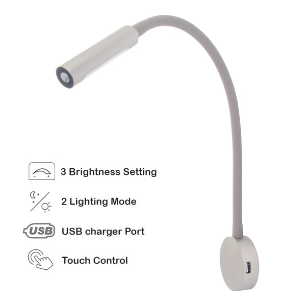 acegoo RV Boat LED Reading Light, Dimmable Flexible Gooseneck Wall Lamp for Truck Motorhome Yachts Cabin Bedside or Seat