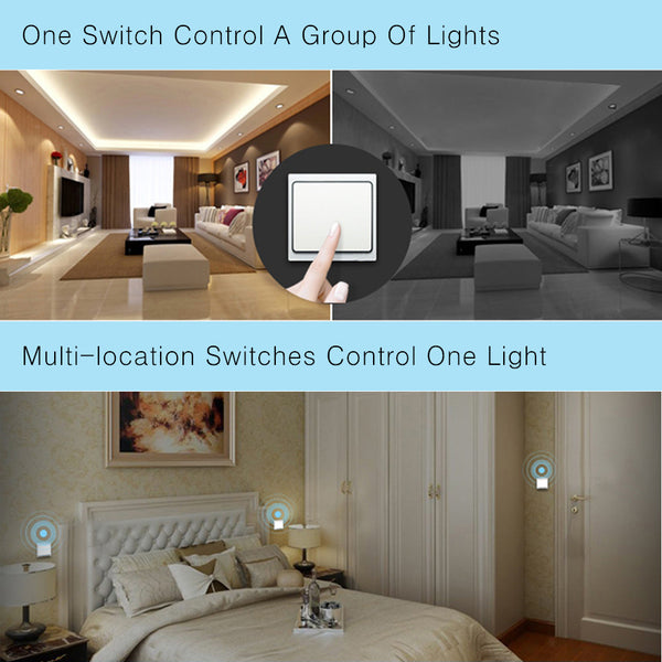Acegoo Wireless Lights Switch Kit - Self-Powered Battery Free Transmitter with Receiver Remote Control House Lighting & Appliances (Switch, Receiver Included) 10A