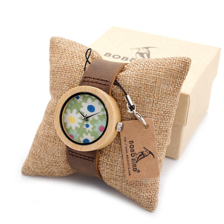 Funky Floral Pattern Women's Bamboo Watch with Wooden Strap