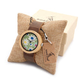 Floral Patterned Bamboo Watch with Leather Strap