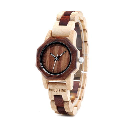 Creative Design Octagon Exquisite Ladies Wooden Watch
