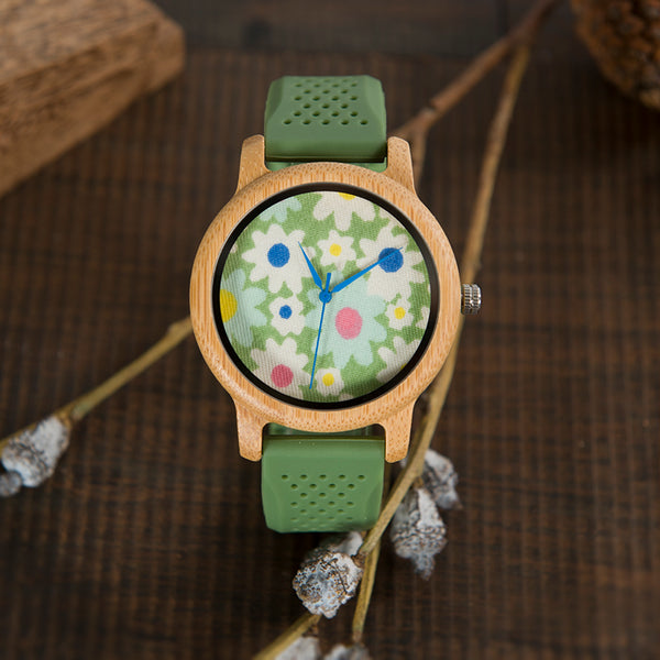 Ladies Casual Bamboo Watch with Fabric Dial