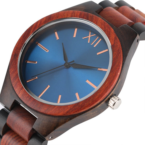 Handmade Unisex Wooden Band Sapphire Blue/Dark Brown Face