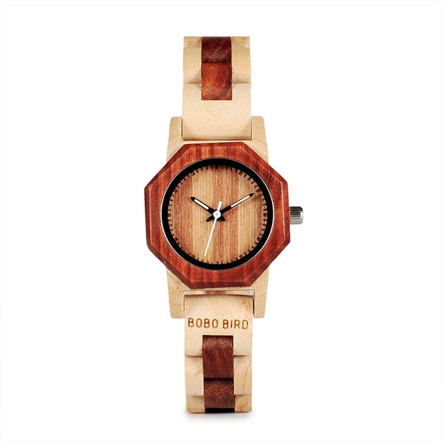 Duotone Octagonal Wooden Quartz Ladies Watch