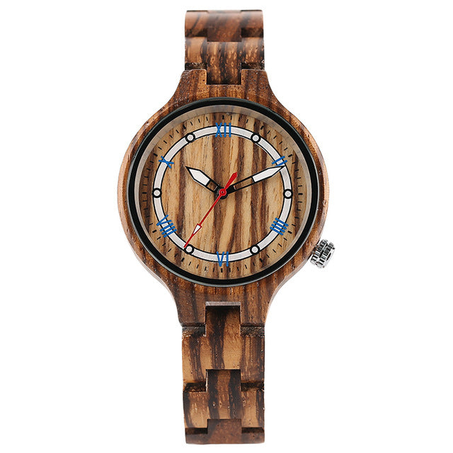 Creative Full Wood Watch with Blue Dial