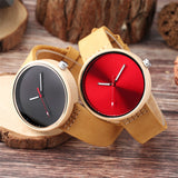 Colourful Women's Maple Wood Watch with Casual Leather Band
