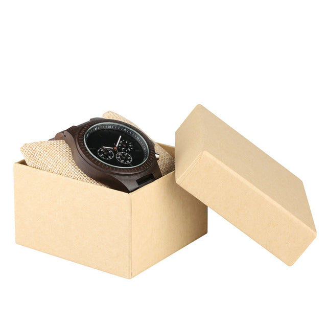 Dark Wood Men's Watch with Small Dial Chronograph