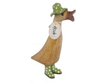 Wooden duck with spotty wellies and hat open beak