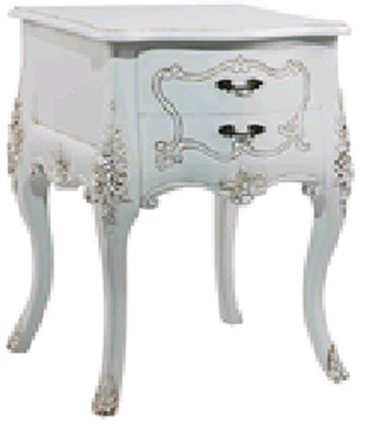 Bedside Tables & Cabinets - Shabby Chic  Bedside Table With Hand Carving