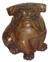 Bulldog Large Wood Carving