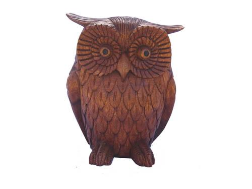 Decorative Ornaments & Figures - Carved Owl Sitting