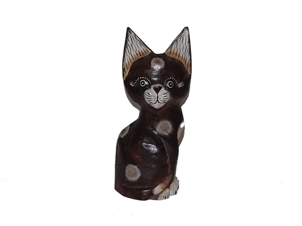 Decorative Ornaments & Figures - Cat Painted Wooden Ornament