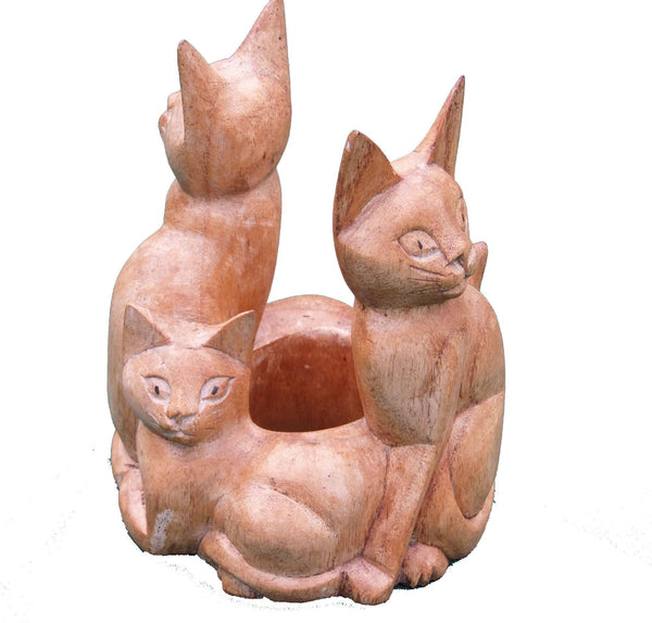 Decorative Ornaments & Figures - Cat Wooden Circle