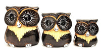 Decorative Ornaments & Figures - Owl Set Of 3 Brown