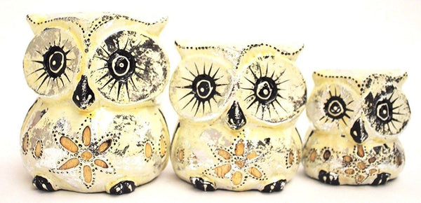 Decorative Ornaments & Figures - Owl Set Of 3 Cream