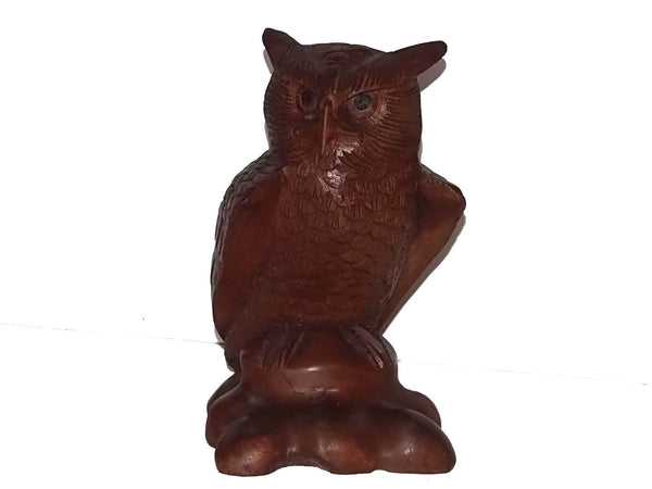 Decorative Ornaments & Figures - Owl Statue Wood Carving