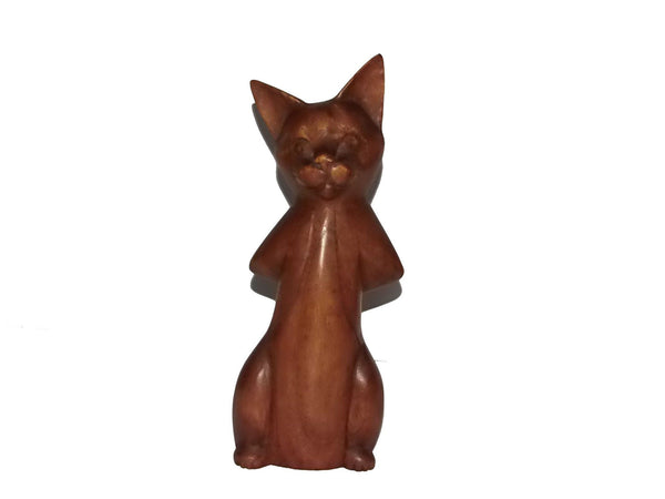 Decorative Ornaments & Figures - Standing Cat Wood Carving