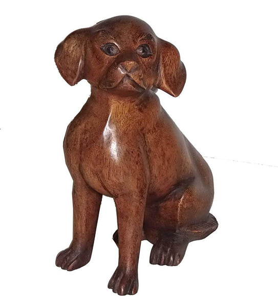 Decorative Ornaments & Figures - Wooden Dog Statue Hand Carved From Solid Wood