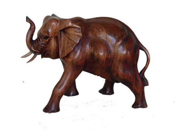 Elephants - Elephant Statue Wood Carving 15 Cm