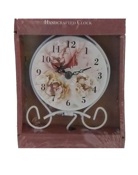 Mantle Rose Clock Cream