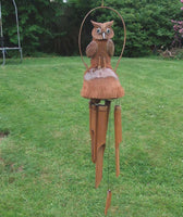 Other Garden Ornaments - Large Owl Bamboo Wind Chime