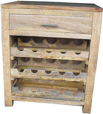 Sideboards, Buffets & Trolleys - Wine Rack Cabinet  Mango Furniture Solid Wood