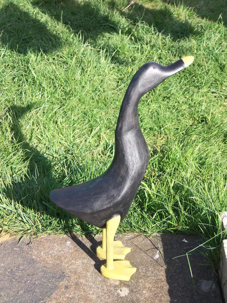 Statues & Lawn Ornaments - Wooden Duck Large 42 - 46 Cm Black