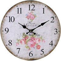 Wall Clocks - Large Rose Wooden WALL CLOCK Vintage