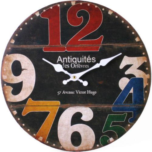 Wall Clocks - Number Wooden WALL CLOCK Vintage