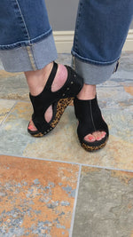 Corkys Carley Wedge in Black Leopard