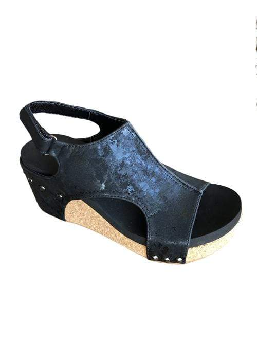 Sale Corkys Carley Sandal in Black Metallic Corkys Footwear