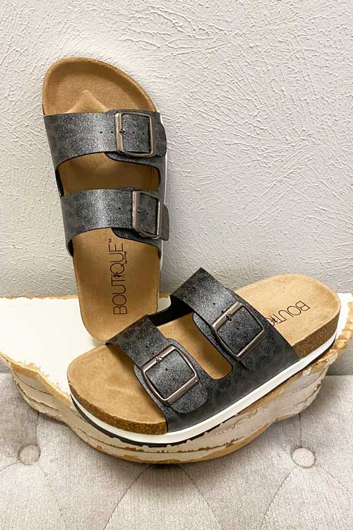 Shoes Corkys Beach Babe Sandal in Charcoal Sparkle 7 Corkys Footwear