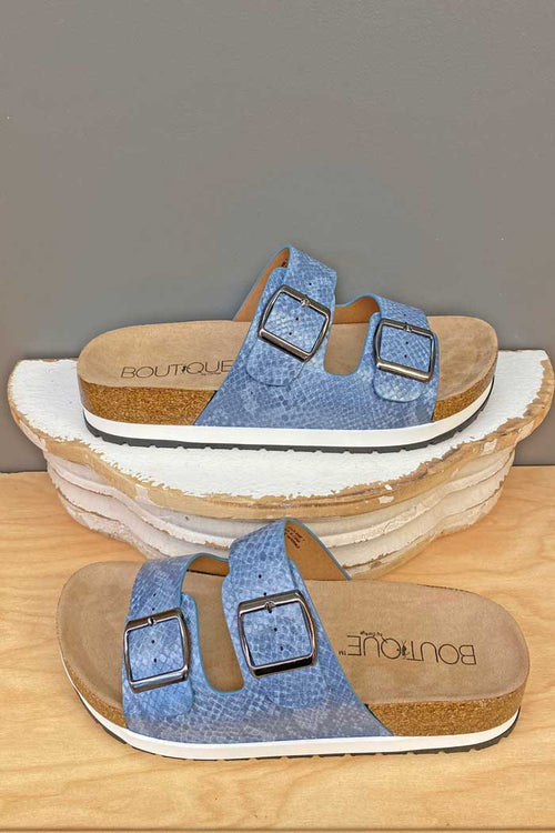 Shoes Corkys Beach Babe Sandal in Blue Snake Corkys Footwear