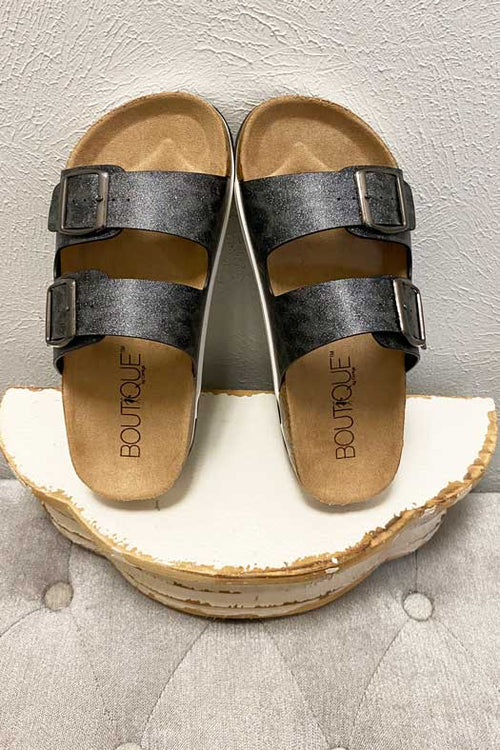 Shoes Corkys Beach Babe Sandal in Charcoal Sparkle Corkys Footwear