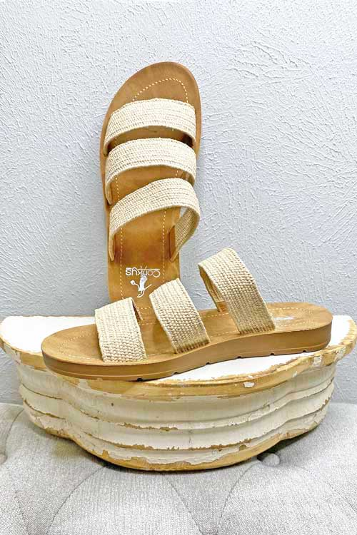 Shoes Corkys Dafne Slip On Sandal in Natural Corkys Footwear