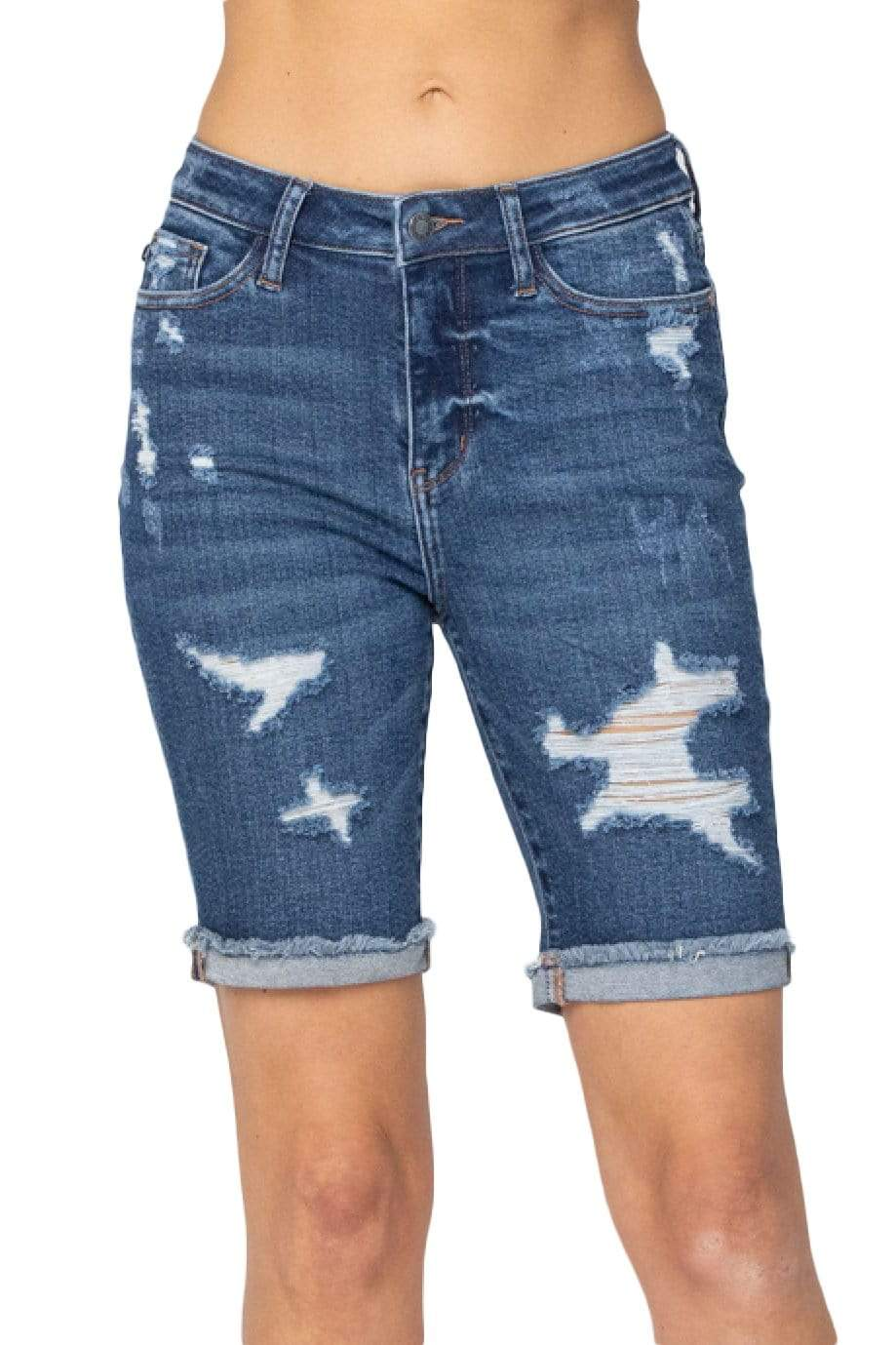 Clothing Judy Blue Bonnie Distressed Bermuda Denim Short Judy Blue