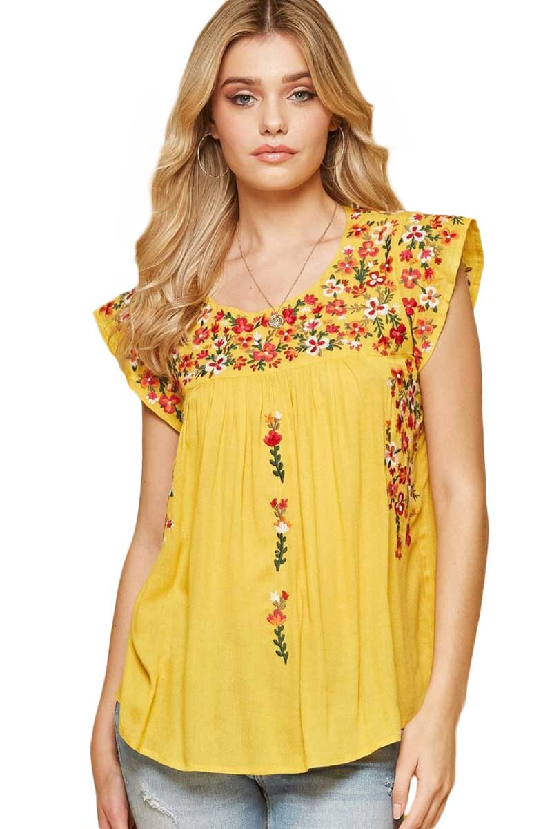 Clothing Blossom Embroidered Top in Lemon Savanna Jane