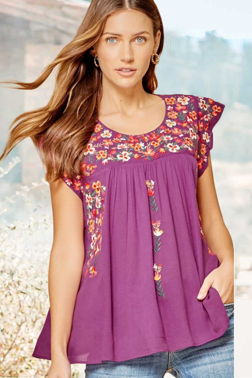 Clothing Blossom Embroidered Top in Magenta Savanna Jane