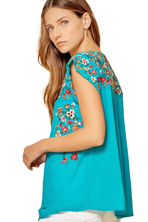 Clothing Blossom Embroidered Top in Teal Savanna Jane