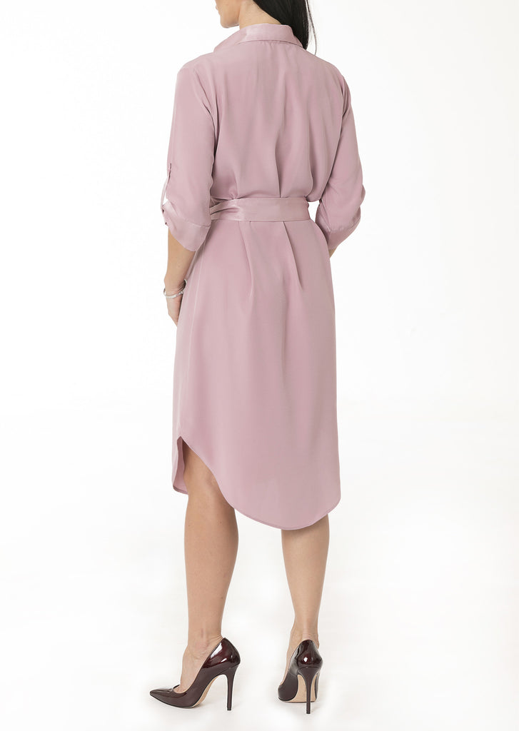 Shirt Dress in Dusty Rose