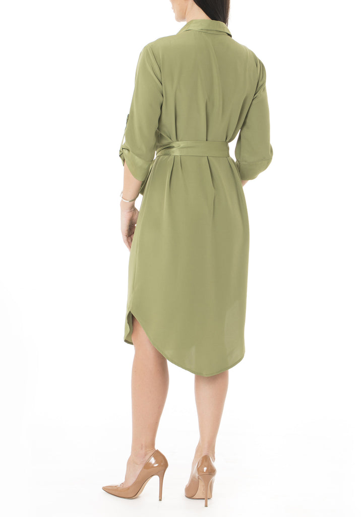 Shirt Dress in Green Olive