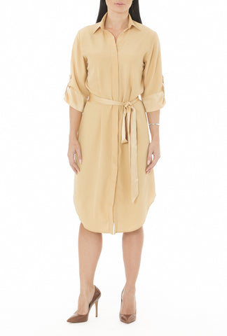 Shirt Dress in Golden Nude