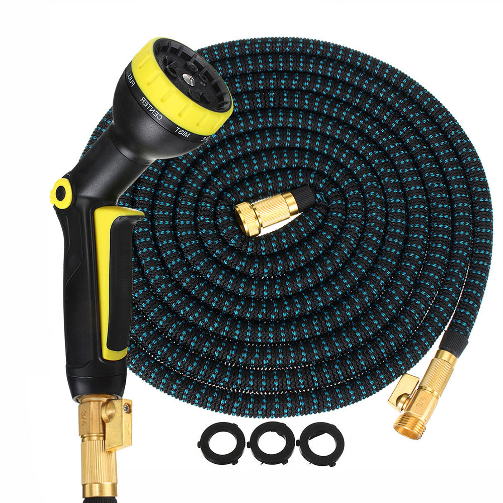 Expandable Garden/Water Hose - Heavy Duty Triple Latex Core, Solid Brass Connectors and Extra Strength Fabric