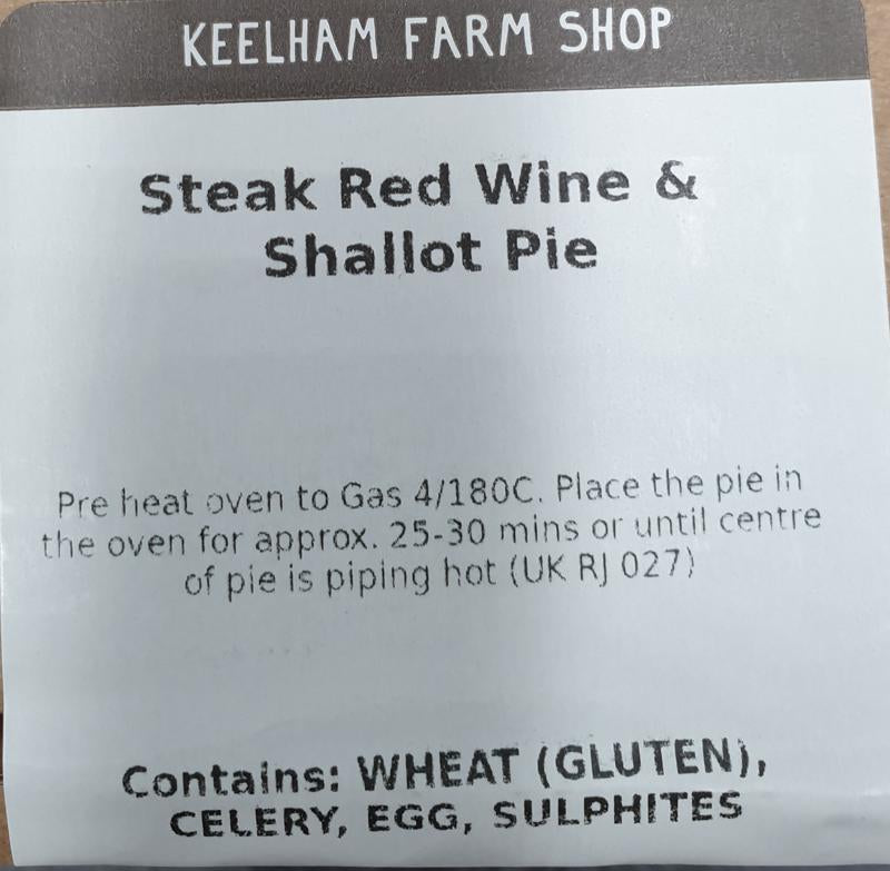 Load image into Gallery viewer, Large Keelham Steak, Red Wine & Shallot Pie